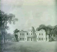 perspective view of a design for rockingham, co. roscommon by george stanley repton