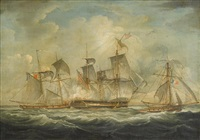 naval engagement between hms wolverine and the french luggers furet and ruse (pair) by thomas whitcombe