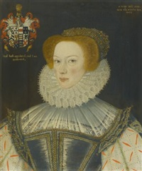 portrait of jennet parkinson, wife of cuthbert hesketh of whitehill, lancashire by george gower