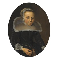 portrait of a lady, half length, wearing a black dress with white lace ruff and headress by thomas de keyser
