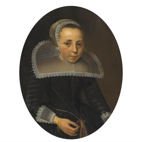 portrait of a lady half length wearing a black dress with white lace ruff and headress by thomas de keyser