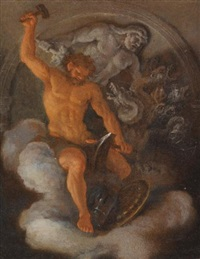 vulcan at his forge, behind him a bas-relief of hercules fighting the hydra by filippo lauri