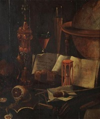 still life with antiquities and lemon by vincent laurensz van der vinne the elder