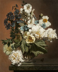 blue cranesbill and peonies by bennett oates