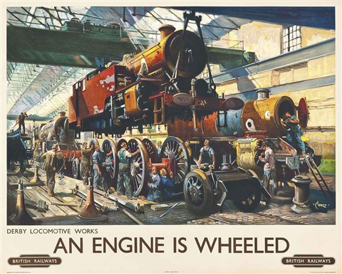 an engine is wheeled by terence cuneo