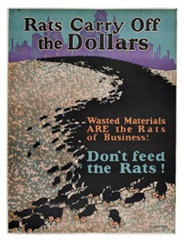 rats carry off the dollars by posters: propaganda
