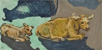 cow and calf (diptych) by lucy culliton