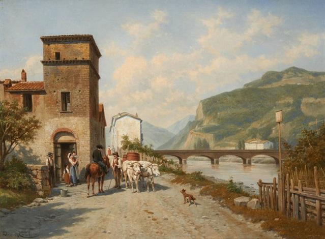 vue du pont de la rosa à vingtimile by jacques françois carabain