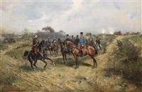 manöver (österreichischer ulan salutiert ulanenoffizier) by thaddaus von ajdukiewicz