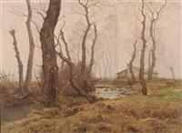 brume d'automne, femme au bord de la rivière by theodore lespinasse