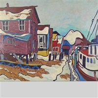 port stanley harbour, winter by charles holmes mcdougall