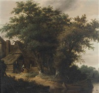 a wooded river landscape with peasants before a cottage by salomon van ruysdael