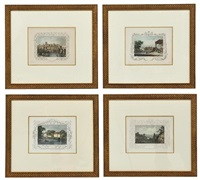 hampton court bridge (+ 3 others; 4 works from thames views series) by william tombleson