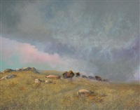 plains bison under stormy sky by milton achtimichuk