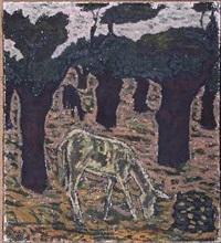 paisaje con encina y burro by godofredo ortega muñoz