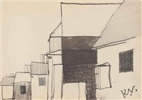 row of houses; street scene; study for lane in shere; a field (4 works) by keith vaughan