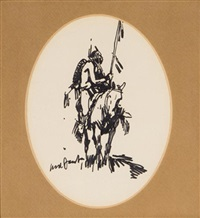 indian on horse (+ 2 others, 3 works) by ned jacob