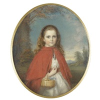 portrait of a young girl in a red cape, holding a basket with flowers on her arm by reginald easton