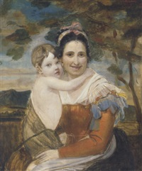 portrait of estina fagan seated in a red dress, held by her nurse by robert fagan
