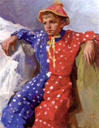 portrait of a young boy dressed as a pierro by dmitri i. shmelyov