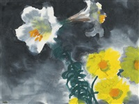 weisse lilien und dahlien (white lilies and dahlias) by emil nolde