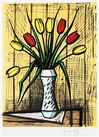 tulipes jaunes et rouges by bernard buffet
