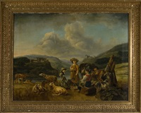 rastande herdar i bergslandskap by carl axel raab