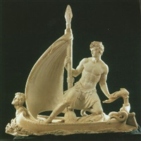 a classical figure (odysseus?) sailing a boat by pompeo marchesi