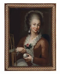 portrait of a lady in a pink dress winding yarn by pietro antonio rotari