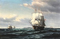 seascape with sailing ships by vilhelm victor bille