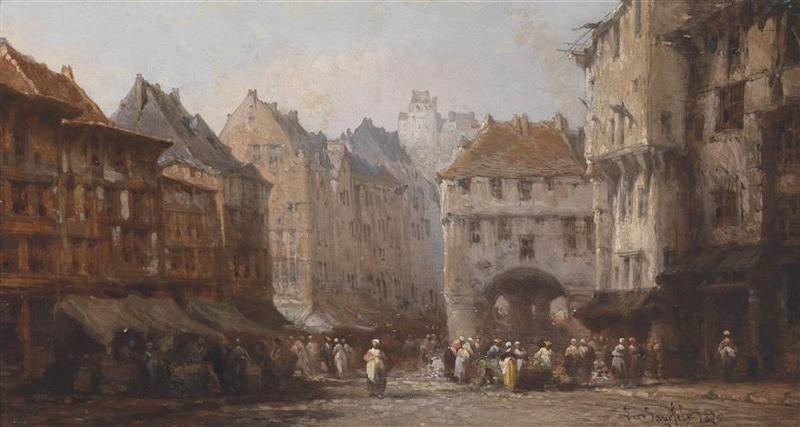 markttreiben in einer stadt by léonard saurfelt
