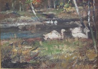 geese on a woodland pond by james kay