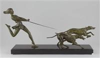 jeune fille courrant avec deux lévriers by geo maxim