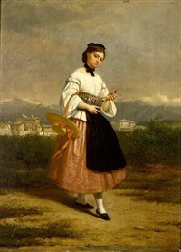 a girl in an italian dress by charles augustin wauters