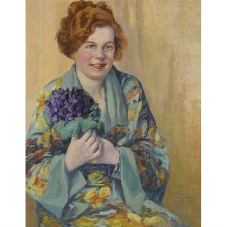 girl holding flowers by robert reid