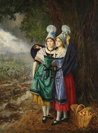 deux bordelaises s'arbitant de la pluie après la cueillette des pommes by basile lemeunier