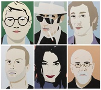 david hockney (ii) hunter s. thompson (iii) ed ruscha (iv) matthew barney (v) björk (vi) chuck close (6 works) by brian alfred