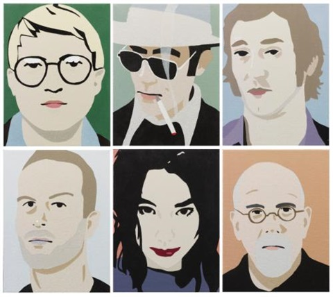 david hockney ii hunter s thompson iii ed ruscha iv matthew barney v björk vi chuck close 6 works by brian alfred