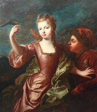 jeune fille au perroquet avec son jeune serviteur à la cage by pierre gobert