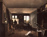 the artist's studio by charles-louis lesaint