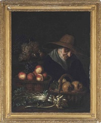 a fruit seller asleep by her wares by peter (petrus) snyers