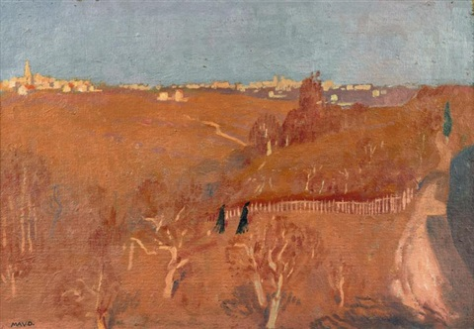 panorama depuis une vallée rose paysage de palestine ou ditalie  by maurice denis