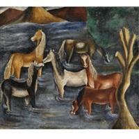 caballos en el rio by maría izquierdo