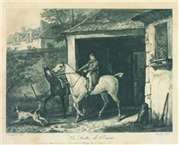 l'entrée de l'écurie (+ 3 others; suite of 4, after carle vernet) by jean-pierre-marie jazet
