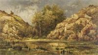 arbres et rochers au dessus de l'étang by marie guillaume charles leroux
