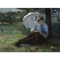 woman with a parasol reading in a sunny field by marcial plaza ferrand