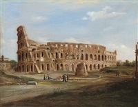 figures before the colosseum, rome by domenico monacelli