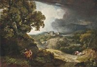 a classical landscape with dido and aeneas sheltering from the storm, carthage beyond by george arnald