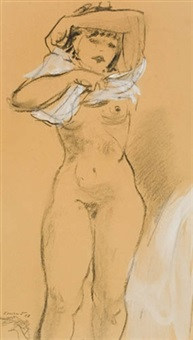 figure studies with house in background (+ 2 others; 3 works, various sizes) by adolf ferdinand konrad