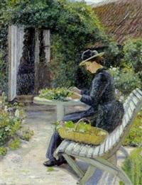 ung pige der ordner blomster i haven by holga elise amalie reinhard
